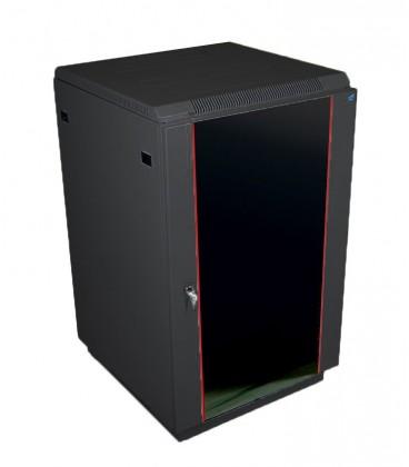 Шкаф телекоммуникационный напольный 18U (600x600) дверь стекло, цвет чёрный
