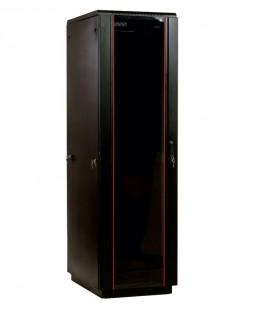 Шкаф телекоммуникационный напольный 47U (800х800) дверь стекло, цвет чёрный