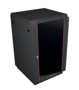 Шкаф телекоммуникационный напольный 27U (600x1000) дверь стекло,цвет черный