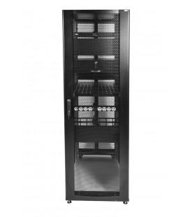 Шкаф серверный ПРОФ напольный 42U (600x1000) дверь перфорированная 2 шт., цвет черный, в сборе
