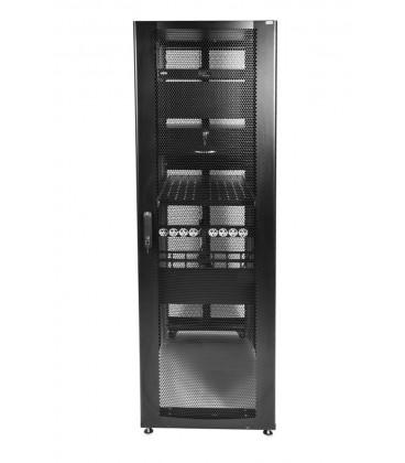 Шкаф серверный ПРОФ напольный 48U (600x1000) дверь перфорированная 2 шт., цвет черный, в сборе