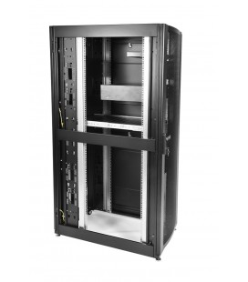 Шкаф серверный ПРОФ напольный 48U (800x1200) дверь перфорированная 2 шт., цвет черный, в сборе