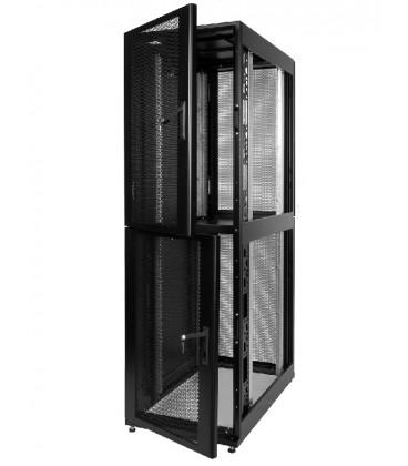 Шкаф серверный ПРОФ напольный колокейшн 40U (600x1000) 2 секции, дверь перфор. 2 шт., черный, в сборе