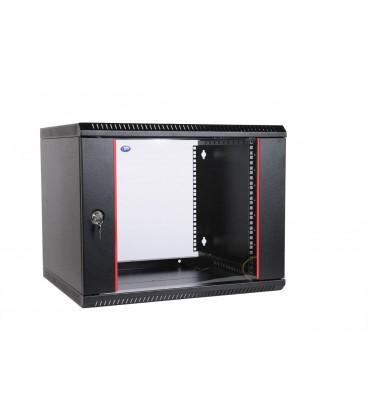 Шкаф телекоммуникационный настенный разборный 9U (600х650) дверь стекло, цвет черный