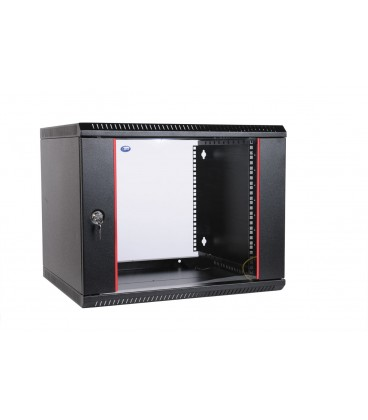 Шкаф телекоммуникационный настенный разборный 9U (600х520) дверь стекло,черный