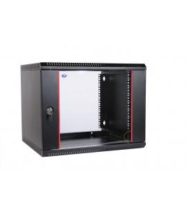 Шкаф телекоммуникационный настенный разборный 9U (600х350) дв стекло,черный