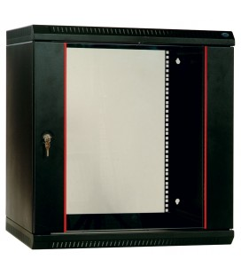 Шкаф телекоммуникационный настенный разборный 18U (600х520) дверь стекло, цвет черный