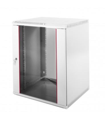 Шкаф телекоммуникационный настенный разборный 15U (600х350) дверь стекло