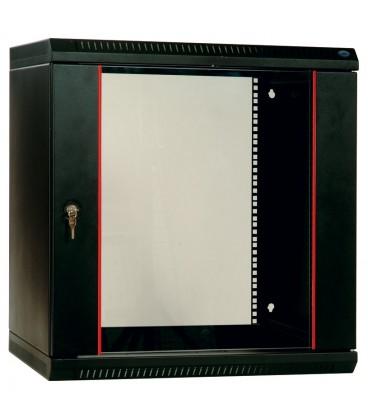 Шкаф телекоммуникационный настенный разборный 12U (600х520) дверь стекло, цвет черный