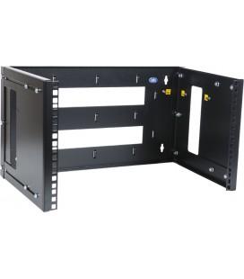 Кронштейн телекоммуникационный настенный 3U, регулируемая глубина 300-450 мм, цвет черный