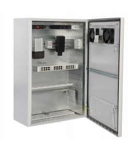 Шкаф уличный всепогодный настенный 15U (600х500), передняя дверь вентилируемая