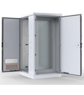 Шкаф уличный всепогодный напольный 24U (Ш1000хГ900) с электроотсеком, три двери