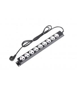 """Блок силовых розеток 19"""" со шнуром Shuko (2 м) без выкл. и индикатора, 9 розеток Shuko, корпус металл черный"""