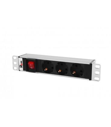 "Блок розеток Rem-10 без шнура с выкл., 3 Sсhuko, вход IEC 60320 C14, 10A, алюм., 10"""