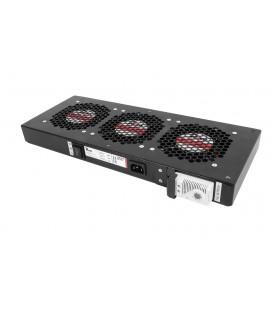 Модуль вентиляторный, 3 вентилятора с терморегулятором, чёрный