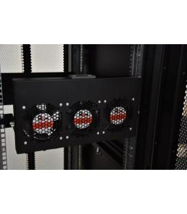 """Модуль вентиляторный 19"""" 1U, 3 вентилятора, регул. глубина 200-310 мм с контроллером, черный"""