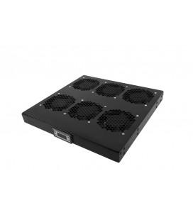 """Модуль вентиляторный 19"""" 1U, 6 вентиляторов, регул. глубина 390-750 мм с контроллером, черный"""