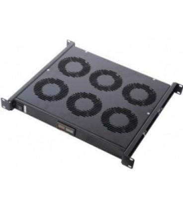 """Модуль вентиляторный 19"""" 1U, 6 вентиляторов, регул. глубина 390-750 мм с контроллером температуры, цвет черный"""